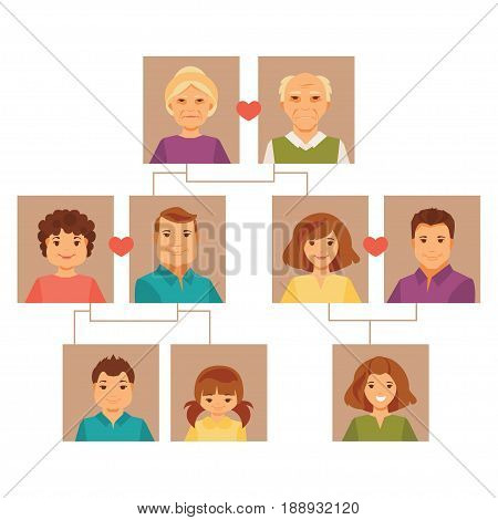 Family Tree. Large family of several generations on a white background