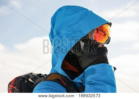 Close-up of skier talking on mobile phone