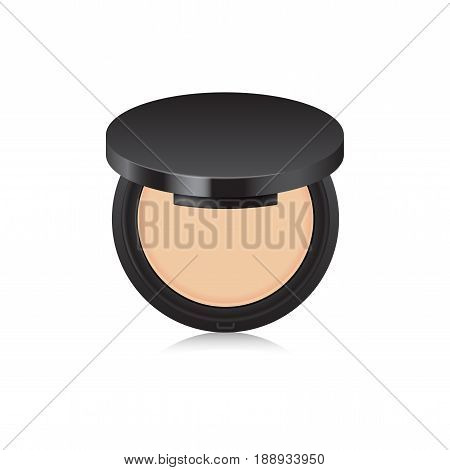 Makeup nude powder color in black case. Opened box isolated on white background. Mock up template for your design