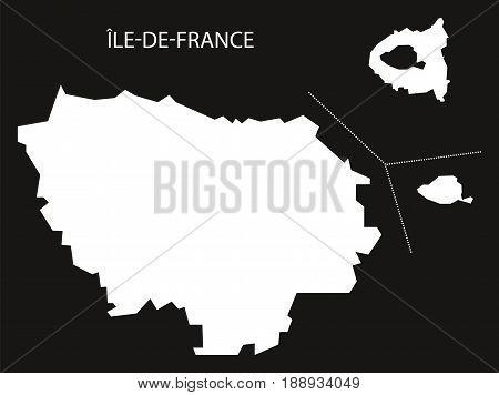 Ile-de-france France Map Black Inverted Silhouette Illustration