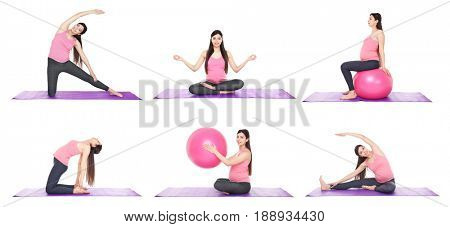 Sport and pregnancy concept. Collage of young pregnant woman training on white background