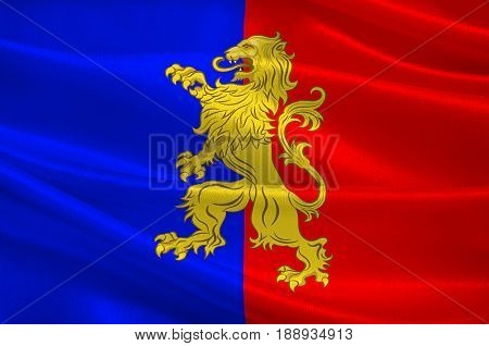 Flag of Bernay is a commune in the west of the Eure department in northern France. The city is in the Pays d'Ouche and the Lieuvin. 3d illustration