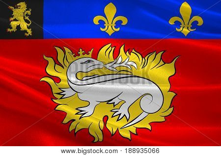 Flag of Le Havre is an urban French commune and city in the Seine-Maritime department in the Normandy region of northwestern France. 3d illustration