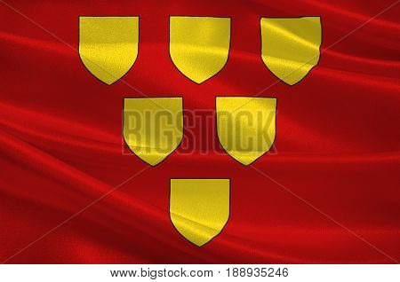 Flag of Mayenne is a commune in the Mayenne department in north-western France. 3d illustration