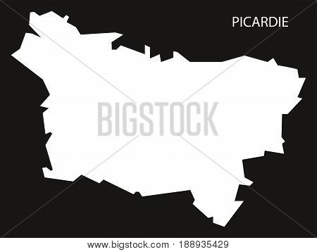 Picardie France Map Black Inverted Silhouette Illustration