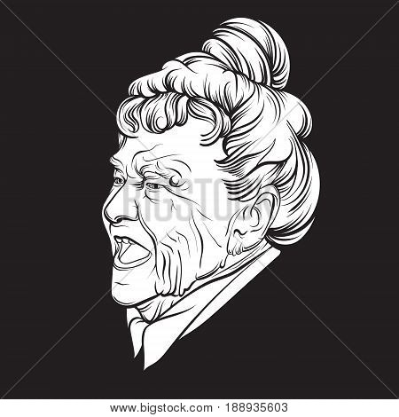 Vector illustration of angry old lady made in hand drawn realistic style. Hand sketched artwork. Template for card poster banner fashion badge print for t-shirt