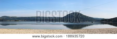 Panoramatic Wiev To Machas Lake From Main Beach. Czech Landscape