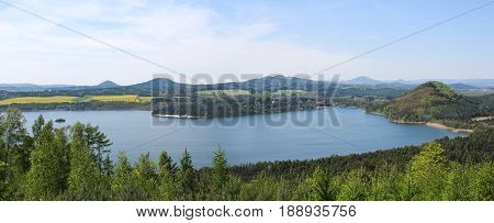 Panoramatic Wiev To Machas Lake From Hill Borny. Czech Landscape
