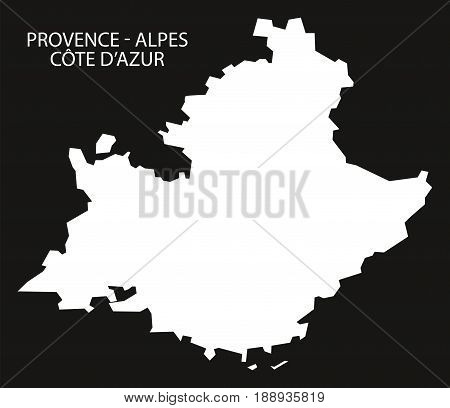 Provence - Alpes - Code D'azur France Map Black Inverted Silhouette Illustration