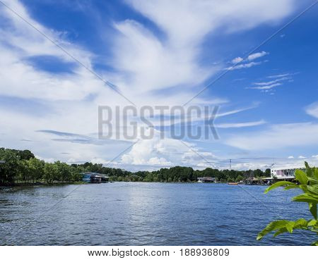 beautiful cloudy on blue sky over the water