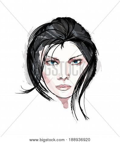 Beauty Girl Face On A White Background