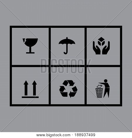 Packaging symbols. Fragile icons on cardboard, vector illustration