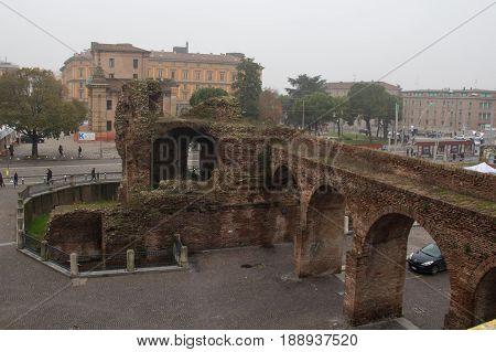 Italy Bologna - November 20 2016: the view of Castello di Galliera ruins ancient fortress wall on November 20 2016 in Bologna Emilia Romagna Italy.