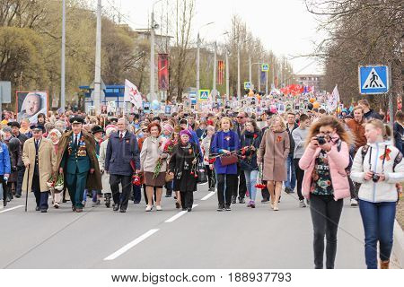 Kirishi, Russia - 9 May, The solemn procession of the action is an immortal regiment, 9 May, 2017. Preparation and conduct of the action Immortal regiment in small cities of Russia.