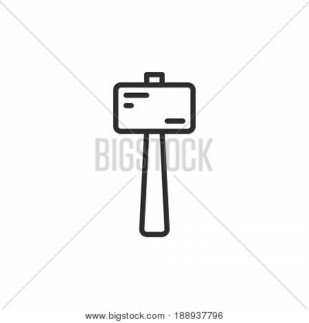 Wooden mallet line icon outline vector sign linear style pictogram isolated on white. Symbol logo illustration. Editable stroke. Pixel perfect