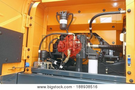 hydraulic mechanism for digging a backhoe of excavating equipment poster
