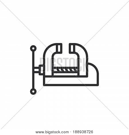 Workshop Bench Vise Clamp line icon outline vector sign linear style pictogram isolated on white. Symbol logo illustration. Editable stroke. Pixel perfect