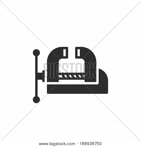 Workshop Bench Vise Clamp icon vector filled flat sign solid pictogram isolated on white. Symbol logo illustration. Pixel perfect