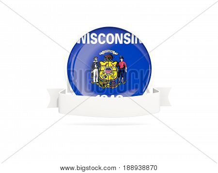 Flag Of Wisconsin With Banner, Us State Round Icon