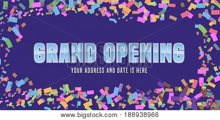 Grand opening vector background with festive confetti and swirl. Template design element for store opening event can be used as banner