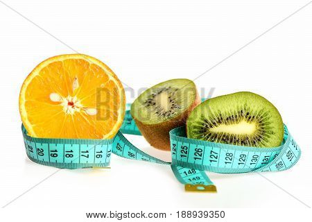 Orange And Kiwi Fruit Halves Wrapped With Blue Measuring Tape