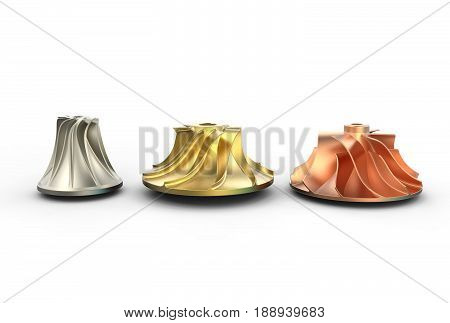 3D illustration of turbo impellers isolated on white and metallic