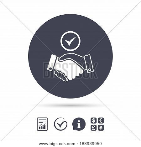 Tick handshake sign icon. Successful business with check mark symbol. Report document, information and check tick icons. Currency exchange. Vector