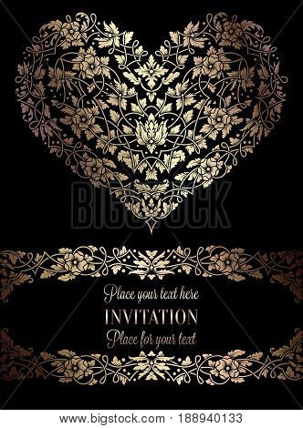 Floral Invitation Card With Antique, Luxury Black And Gold Vintage Frame And Big Ornamental Heart, V