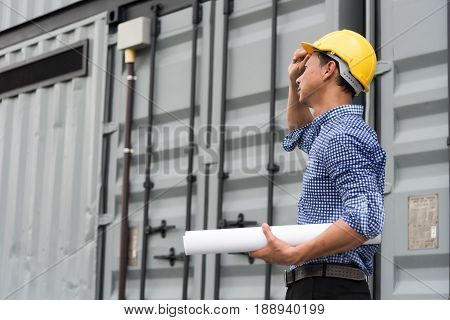 Civil engineer builder at construction site .