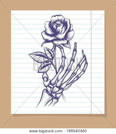 Skeleton arm sketch with rose on line page. Vector illustration