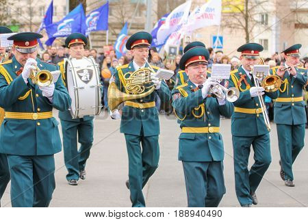 Kirishi, Russia - 9 May, Playing military musicians, 9 May, 2017. Preparation and conduct of the action Immortal regiment in small cities of Russia.