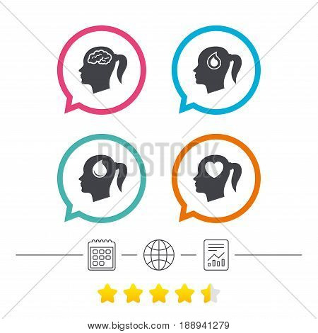 Head with brain icon. Female woman think symbols. Blood drop donation signs. Love heart. Calendar, internet globe and report linear icons. Star vote ranking. Vector