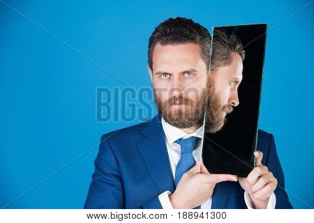 Businessman, Bearded Serious Man Reflecting In Mirror