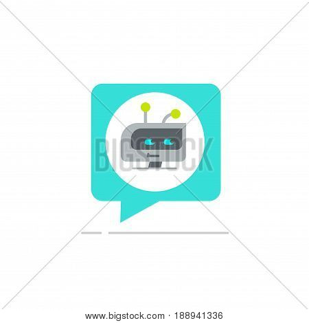 Chatbot in chatting bubble speech vector icon, chat bot service logo isolated on white background, robot head