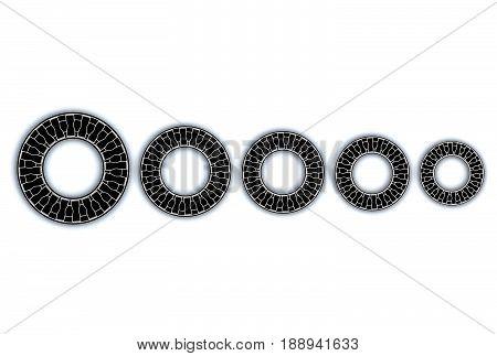 3d illustration of thrust needle bearings isolated on white, wooden and metallic