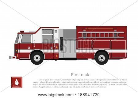 Red fire truck in a flat style on a white background. Car of fire department. Vector illustration