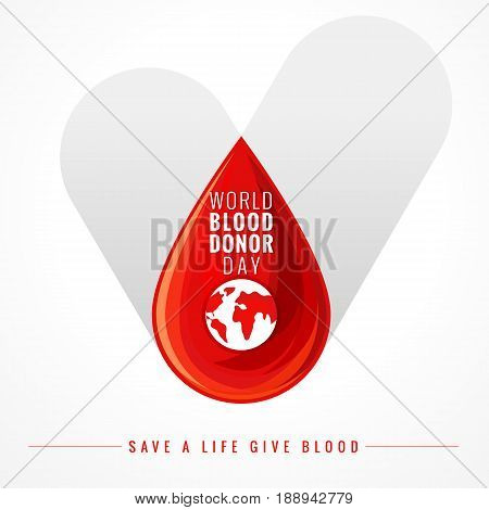 Illustration of Donate blood concept with abstract vector red drop on grey check for World blood donor day June 14. World blood donor day check banner. Medical Center sign on check and blood drop
