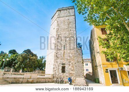 Captain's tower on Five wells square in Zadar, Dalmatia, Croatia