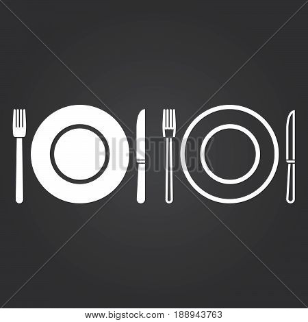 Dishware Icon. Solid And Outline Versions. White Icons On A Dark Background