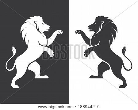 Two heraldic rampant lion silhouettes in black and white colors. Coat of arms. Heraldry logo design element.