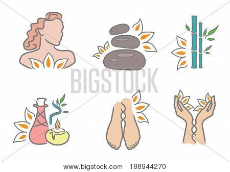 Spa icons set. Bamboo legs hands hair treatments oil candle stones.