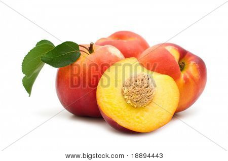 slice fresh nectarine on white background