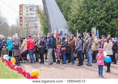 Kirishi, Russia - 9 May, Human turn to pay tribute to memory, 9 May, 2017. Laying wreaths and flowers in memory of the fallen at the Eternal Flame.