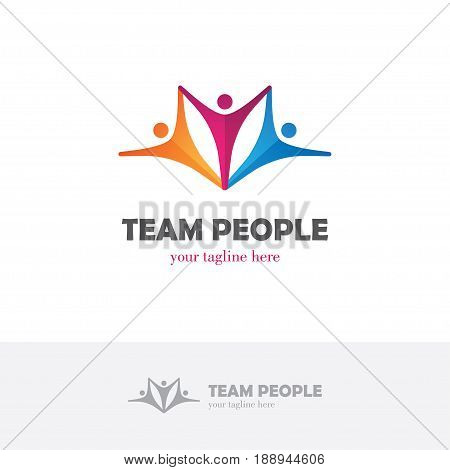 Elegant colorful logo with group of three abstract human figures. Symbol of family team unity partnership connection collaboration etc.