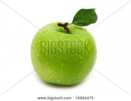 wet green apple on white background