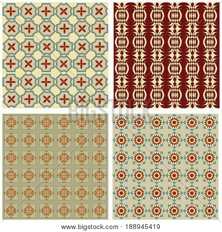 Set of background tiles in art deco style with simple geometric patterns in beige red and green nostalgic color shade