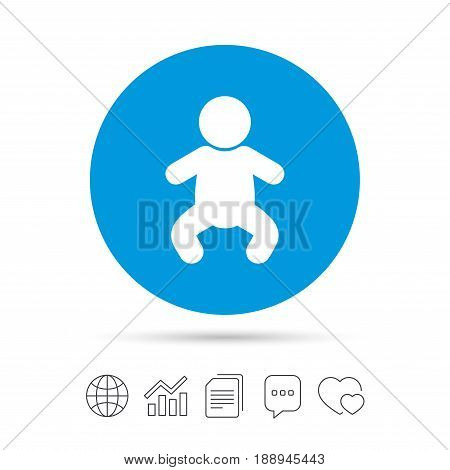 Baby infant sign icon. Toddler boy in pajamas or crawlers body symbol. Child WC toilet. Copy files, chat speech bubble and chart web icons. Vector poster