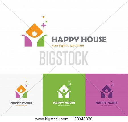 Colorful house icon with abstract happy human silhouette. Health center home care real estate apartments or hotel logo kindergarten or preschool design concept.