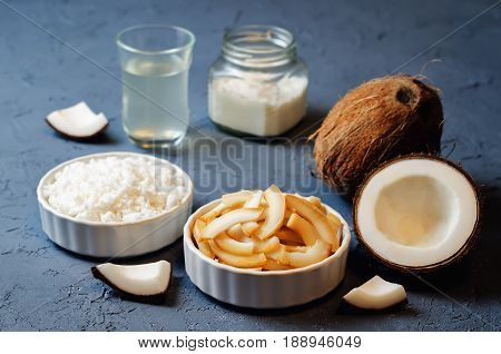 List of coconut dishes. Coconut chips; coconut water; coconut butter and coconut flakes.
