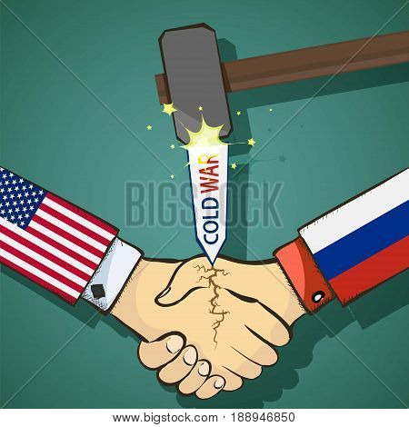Cold war between the USA and Russia. Handshake of two people. Stock vector flat graphic illustration.